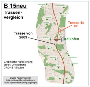 Das Bild zeigt die bisher geplanten Trassen der B15neu.